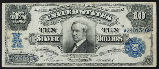 1908 $10 'Tombstone' Silver Certificate VF
