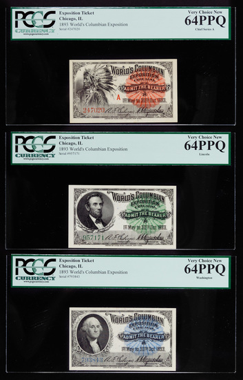 1893 World's Colombian Exposition Tickets 64-PPQ PCGS