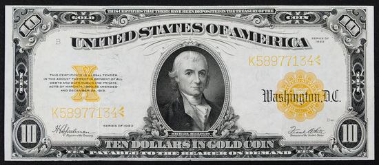 1922 $10 Gold Certificate XF Details