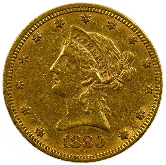 1880 $10 Gold AU Details