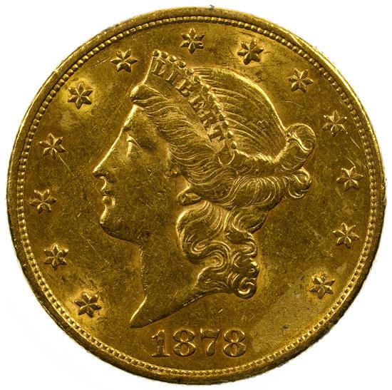 1878-S $20 Gold AU