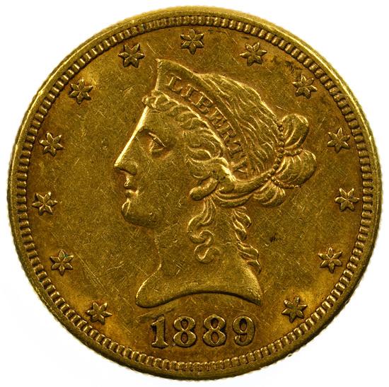 1889-S $10 Gold AU