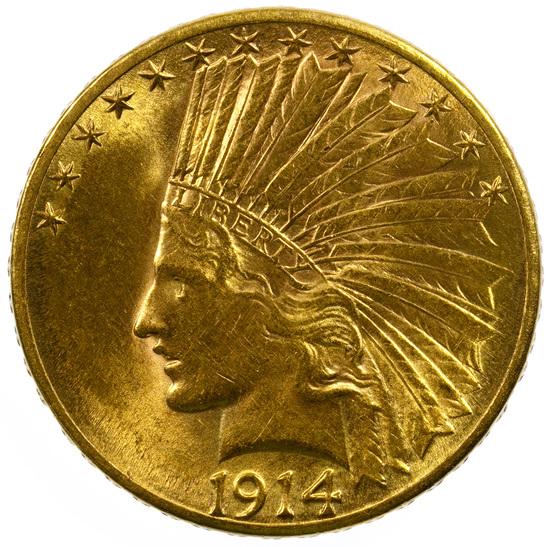 1914-D $10 Gold Unc.
