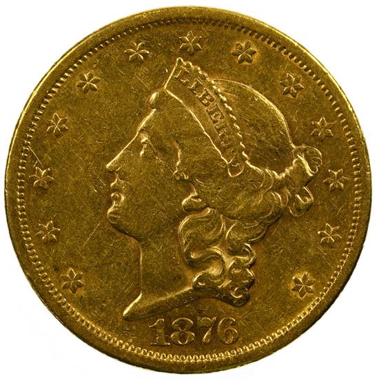 1876-S $20 Gold AU