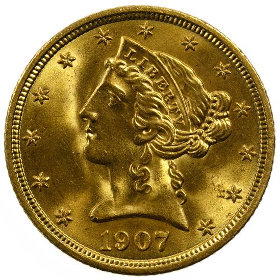 1907 $5 Gold Unc.
