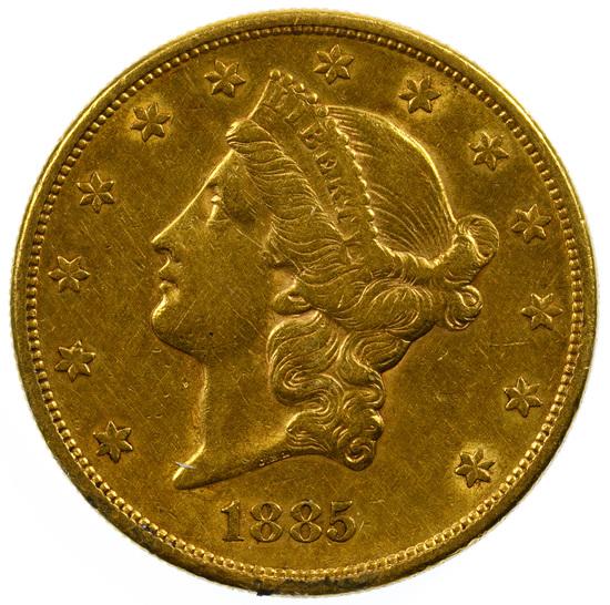 1885-S $20 Gold XF/AU