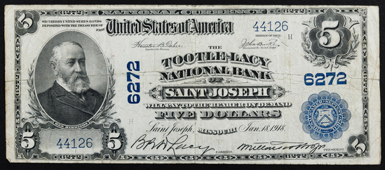 1902 $5 National Bank Note Charter #6272 F