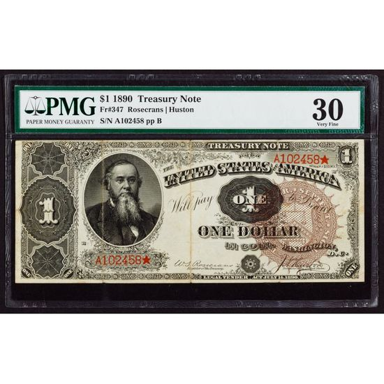 1890 $1 Treasury Note VF-30 PMG
