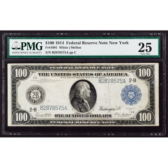 1914 $100 FRN New York VF-25 PMG