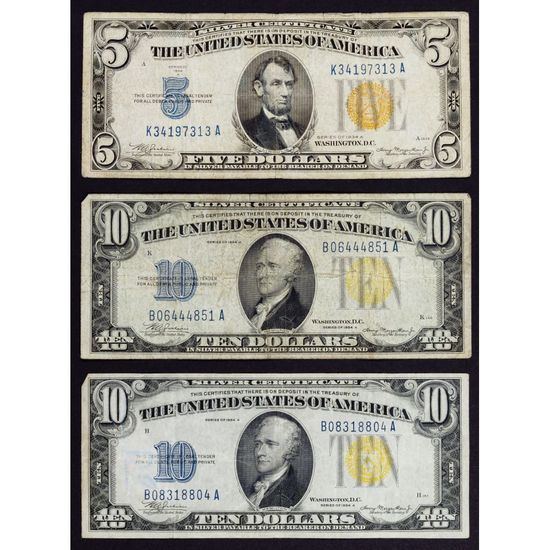1934-A $10 and $5 'North African' Silver Certificates F