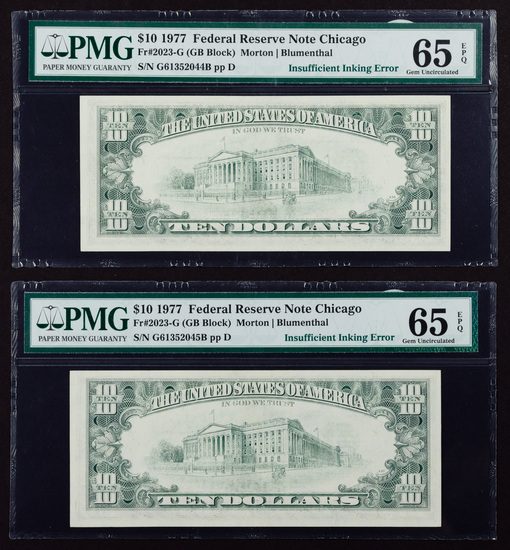 1977 $10 FRN Chicago Gem Unc. 65 EPQ PMG