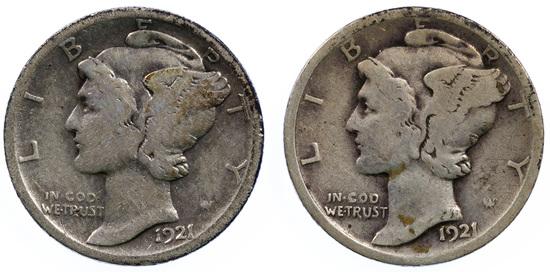 1921, 1921-D 10c F