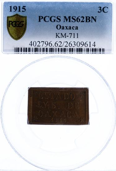 Mexico: 1915 3c MS-62 PCGS
