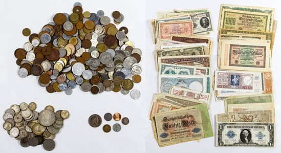 World: Coin, Currency and Stamp Assortment