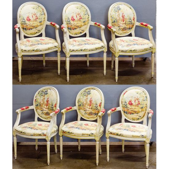 Baker Louis XVI Style Open-Arm Dining Chairs