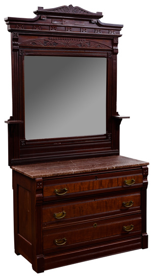 Eastlake Style Mahogany Dresser with Marble Top and Mirror