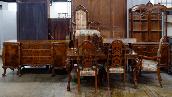 French Baroque Carved Walnut Dining Room Suite