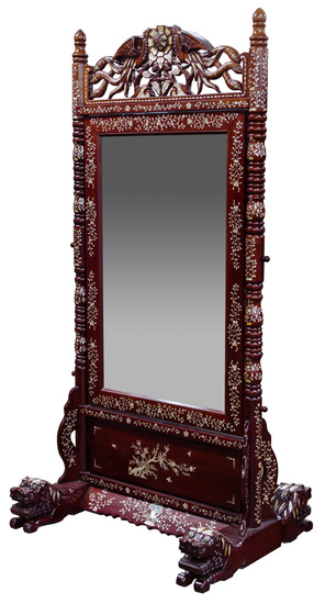 Asian Style Inlaid Cheval Mirror