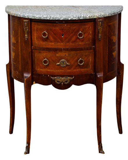 French Style Marble Top Demilune Cabinet