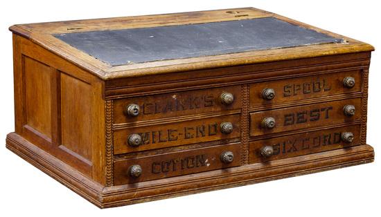 Clark's O.N.T. Oak Spool Cabinet Desk