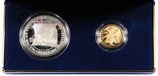 1987 US Constitution Gold and Silver Proof Set