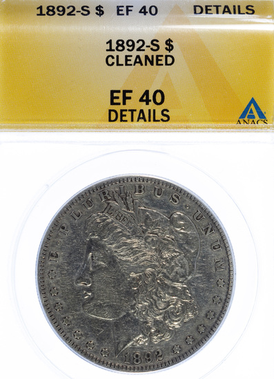 1892-S $1 XF-40 ANACS Details
