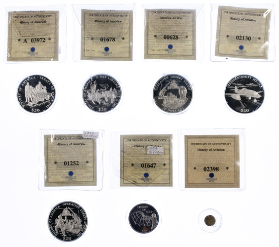 14k Gold and Sterling Silver (999) Commemorative Tokens