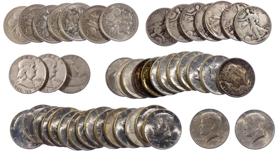 Walking Liberty, Franklin and Kennedy 50c Assortment