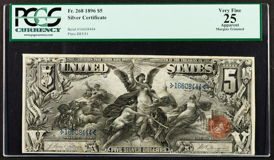 1896 $5 'Educational' Silver Certificate VF-25 Details PCGS