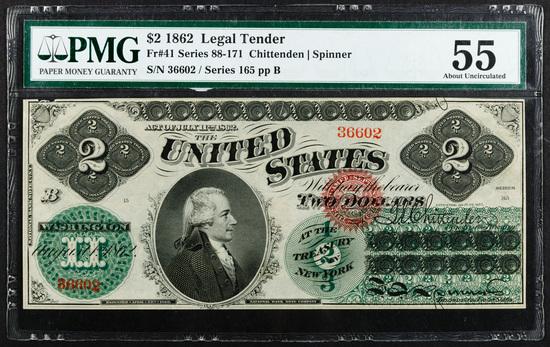 1862 $2 Legal Tender AU-55 PMG
