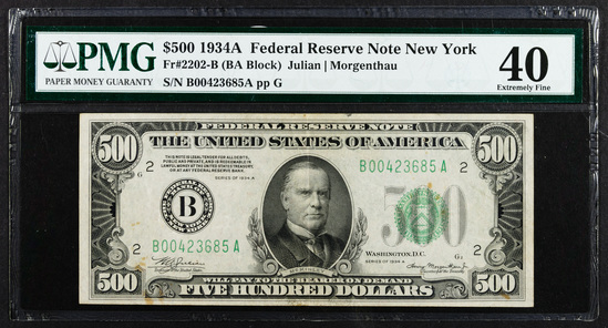 1934-A $500 Federal Reserve Note XF-40 PMG