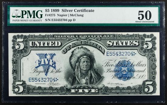 1899 $5 'Chief' Silver Certificate AU-50 PMG