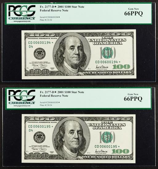 2001 $100 Star Notes Gem New 66 PPQ PCGS