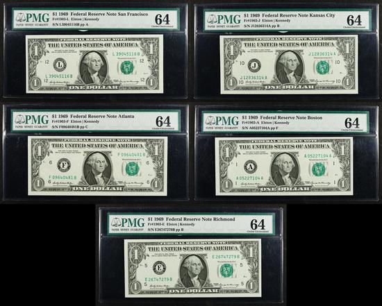 1969 $1 Federal Reserve Note Assortment CU-64 PMG