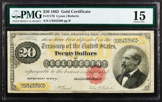 1882 $20 Gold Certificate VF-15 PMG