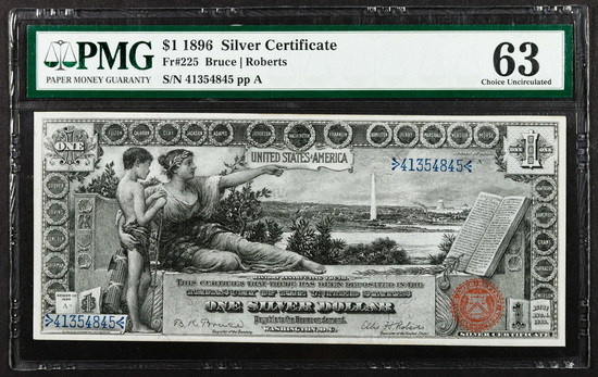 1896 $1 'Educational' Silver Certificate CU 63 PMG