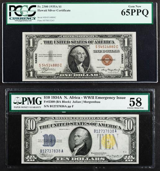 1934-A $10 'North African' Silver Certificate AU-58 PMG