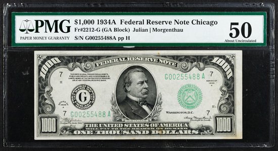 1934-A $1000 Federal Reserve Note AU-50 PMG