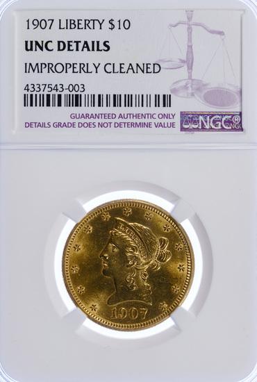 1907-D $10 Gold Unc. Details NGC