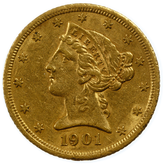1901-S $5 Gold XF Details