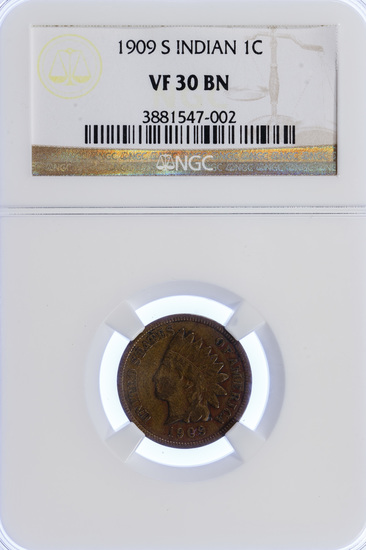 1909-S 1c Indian Head VF-30 NGC