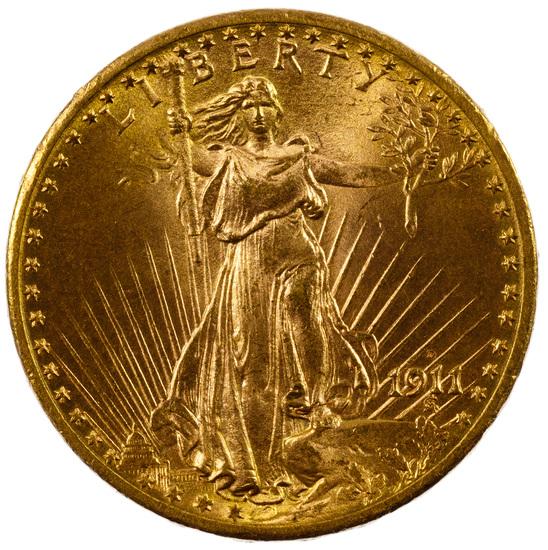 1911 $20 Gold Unc. Details
