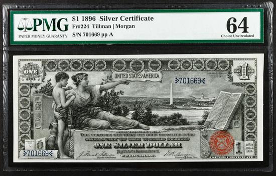 1896 $1 'Educational' Silver Certificate CU 64 PMG