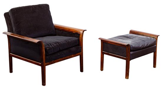 Hans Olsen for Vatne Mobler Danish Modern Chair and Ottoman