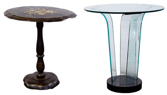 Victorian Papier-Mache Table and Glass Table