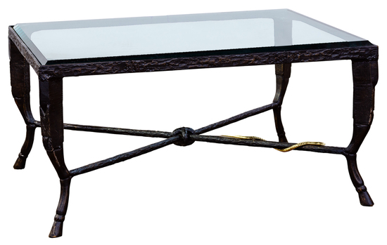 (Style of) Christopher Chodoff Glass and Bronze Coffee Table