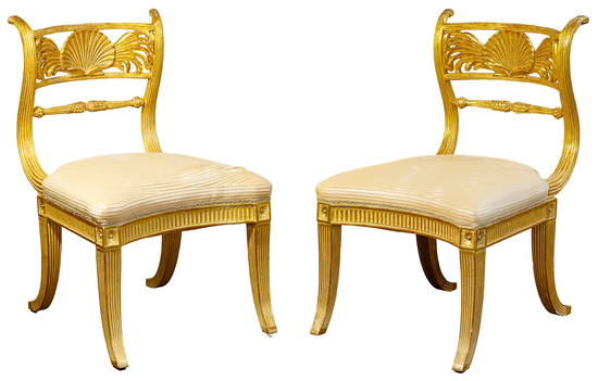 Gold Gilt Carved Arm Chairs