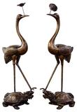 Asian Style Bronze Cranes