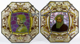 English Lady Berkley and Sir John Wiatt Leaded Glass Portraits