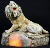 Alabaster Lion Accent Lamp
